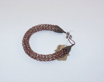 "Viking Knit Bracelet, Copper Wire, 7 1/2"" Handmade wire clasp."