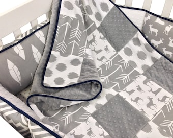 Gray Woodland Crib Set with Bumpers- 4 Piece Set-  Gray Navy