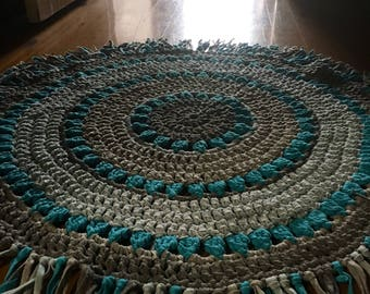 Crocheted mandala rug