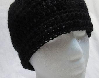 Bonnet en laine noir, tête de mort, bonnet, Mans, Crochet, tricot, Goth, nuit, Watchcap, fait à la main, Steampunk, Womans, cadeau d'anniversaire, nouvelle, printemps, Pâques