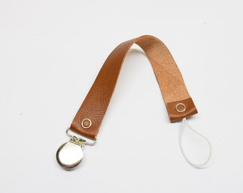 Pacifier clip, leather pacifier clip, brown leather, brown pacifier clip.