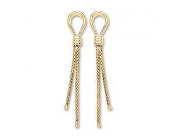 9ct Yellow Gold Loop & Mesh Tassel 4cm Drop Earrings Hallmarked
