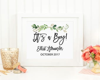 It's a Boy! Pregnancy Announcement, Gender Announcement, Custom Baby Name Announcement Sign, Greenery, Green Leaf Print, 70J