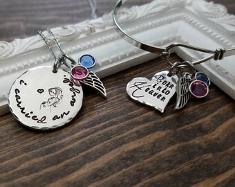 Miscarriage Memorial Jewelry - Miscarriage Memorial Necklace and Bangel Set -  I Carried An Angel Necklace & Born Into Heaven Bangle