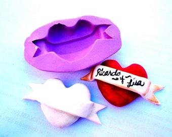 heart with banner mold