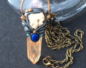 Tranquility Coral /Quartz /Amethyst /Lapis Lazuli Crystal Pendant Necklace
