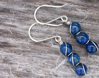 Lapis Lazuli Sterling Silver Bead Bar Earrings