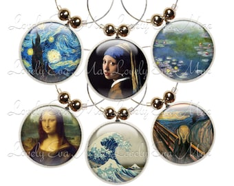 Famous Paintings Wine Glass Charms, Wine Charms, Wine Accessories, Wine Glass Jewelry, Art Lover, Wine Charm, Wine Gift, Gift for Wine Lover
