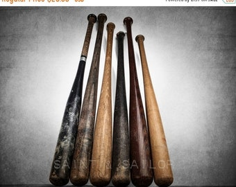 FLASH SALE til MIDNIGHT SixVintage Baseball Bats on Wood One Photo Print ,Decorating Ideas, Wall Decor, Wall Art,  Kids Room, Nursery Ideas,