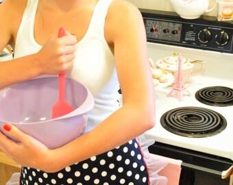 Cupcake Apron, Half Apron, Apron, Hostess Apron, Cute Apron, Retro, Black Apron, Polka dots, Soda Fountain, Hostess