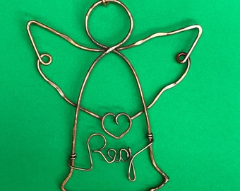Guardian ~ Memorial Angel Ornament, Plain or Personalized, Copper