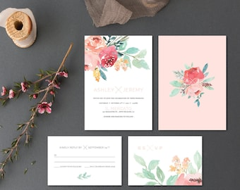 Printable Wedding Invitation Set | Wedding Invitation + RSVP card|  Watercolor, modern, floral, peonies, blush, peach, greenery  | Lightly