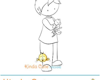Boy with kitten digital stamp (black and white only). Digital stamp with a boy and a cat. Pet love digital stamp