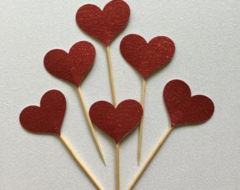 30 PCS Red Glitter Heart Party Picks, Toothpicks, Cupcake Toppers, Food Picks