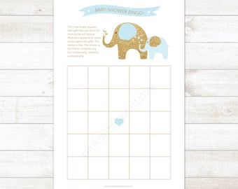 baby boy shower bingo game card printable DIY elephants blue and gold baby boy digital shower games - INSTANT DOWNLOAD