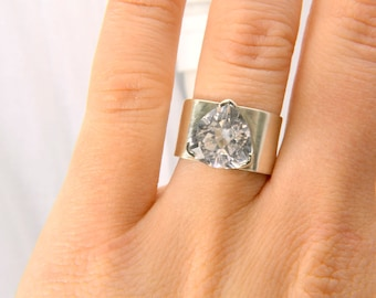 White Sapphire Ring in Silver, Trillion Statement Ring, Diamond Alternative Ring, Wide Band Sterling Silver Ring