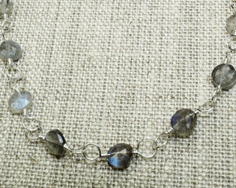 Labradorite beaded choker, silver labradorite necklace choker necklace simple necklace minimal jewelry
