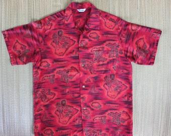 50s Vintage Hawaiian Aloha Shirt MADE in HAWAII Lurline Cruise Ship Hula Dancer Tiki God Island Warrior Mens - M - Oahu Lew's Shirt Shack