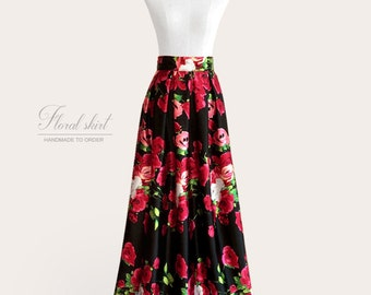 Pleated floral maxi ball gown satin skirt - rose print on black background - fully lined, custom size and length