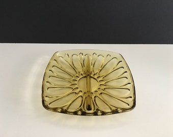 Vintage Amber Divided Pickle Tray