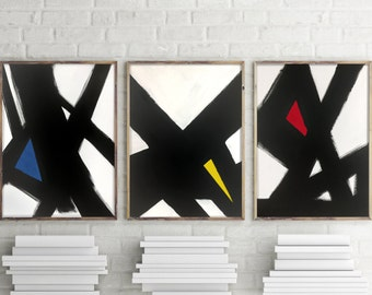 Modern Triptych Canvas Set of 3 black and white art canvas red blue yellow primary colors bedroom art living room art dining room  art set
