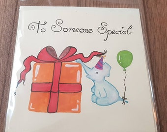 For someone special elephant - Hand painted card