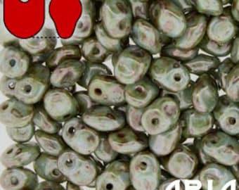 CHALK LAZURE BLUE: SuperUno Czech Glass Seed Bead Drops, 2.5x5mm (10 grams)
