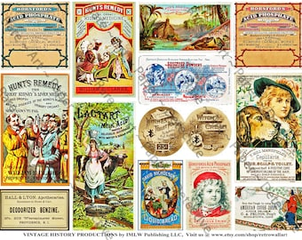 Antique Apothecary Ephemera, Digital Sheet, Vintage Drug Store Trade Cards, Pharmacy Labels, Old Cures and Lotions. Druggist Bottles, 586