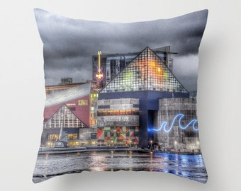 Baltimore Throw Pillow, Inner Harbor, 16x16, 18x18, 20x20, Photo pillow, Decorative, Dorm, Office, Cushion, Maryland, Landscape Pillow, MD
