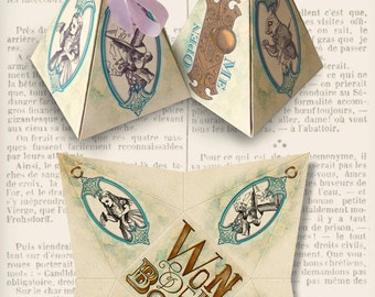 Alice in Wonderland pyramid box printable diy paper crafting favor digital download instant download digital collage sheet - VDBXAL1290