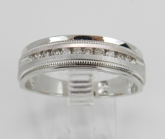 Men's Diamond Wedding Ring Anniversary Band set in 14K White Gold Size 10.25