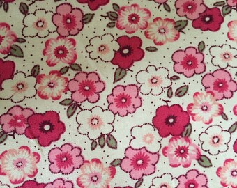 Pink floral  fabric - Rose and Hubble  100% cotton poplin fabric UK