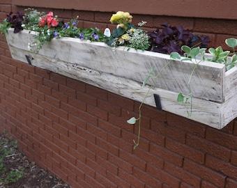 Window planter box, distressed, Outdoor wood planter
