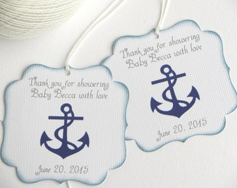 Nautical baby shower favor tags, Navy blue baby shower thank you tags, Personalized favor tag, Boy baby shower gift tags