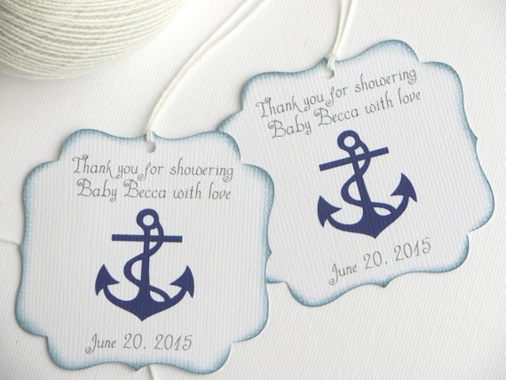 Superb Nautical Baby Shower Favor Tags Navy Blue Baby Shower Thank