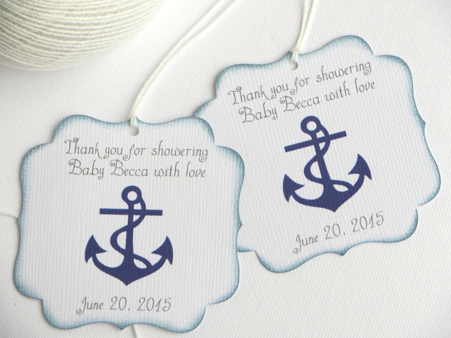 Nautical baby shower favor tags Navy blue baby shower thank