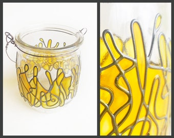 Eco Friendly Hand Painted Stained Glass Lantern Jar, positive happy yellow tealight candle glassware, boho hippie terrarium home vase decor
