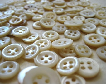 Vintage Mother of Pearl Buttons - 125 small 4 hole