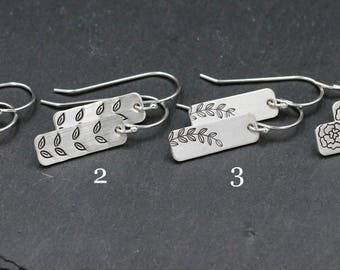 Sterling Silver Floral and Leaf Earrings, Light Weight Earrings, For Girls, Women, Hand Stamped