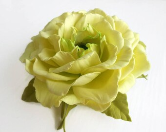 Light green Flower Hair clip Bridal hair piece Bridesmaid hair clip Hair flower Green rose hair Light green rose Green hair Flower Wedding