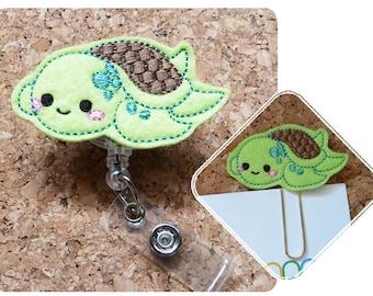 TURTLE Badge Reel, Summer ID Badge Reel, Sea Turtle Felt Badge Reel, Retractable, Planner Paper Clip, Magnet, Brooch Pin, Bookmark,  408