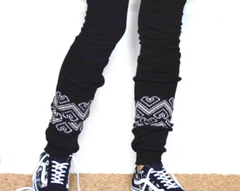 Leg warmers in Black/ Boot cuff / black boot socks / Urban clothing / Knit leg warmers / jacquard legwear / yoga lover / CHOOSE Y