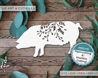 Pig Silhouette - Clipart & Cut File - Hand Papercutting - Cricut / Silhouette - SVG DXF PNG Pdf Jpg - Kids Children Nursery