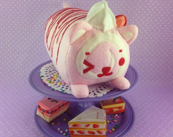 Strawberry Swiss Cat Roll | Cake Themed Cat Plush | Cute Pink Cat Plushie