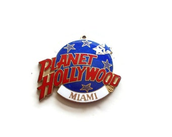 Vintage Planet Hollywood Miami Pendant Key Ring Fob 1990s