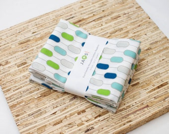 Large Cloth Napkins - Set of 4 - (N3102) - Green Aqua Geometric Modern Reusable Fabric Napkins