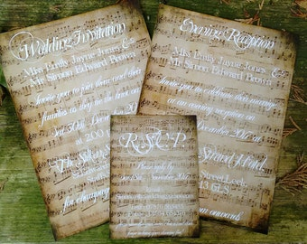 Vintage sheet music sheet invitations and RSVPs