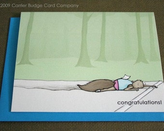 Tired Runner Squirrel - Greeting Card - Celebrating Runners in all their Glory