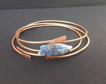 Copper bangles set of 3, Kyanite bangle, throat chakra, copper bracelet, arthritis bracelet