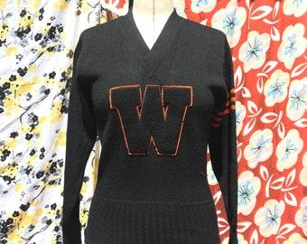 "Vintage 1940s Varsity Sweater ""W"""